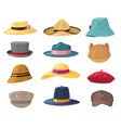 man and woman hats fashion headwear for vector image