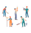 men engaged in housework concept help with vector image vector image