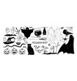 monochrome halloween set various holiday vector image