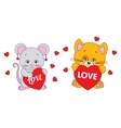 Mouse and cat holding a heart characters vector image vector image