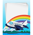 Paper design with airplane flying vector image