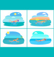 people swimming in pond cartoon badge vector image