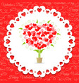 Postcard Happy Valentines abstract tree of hearts vector image