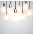 realistic lightbulbs hanging and working vector image