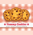 retro choco chip cookie poster vector image