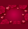 rose flowers and hearts on red background vector image vector image