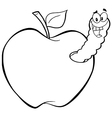 Royalty Free RF Clipart Happy Worm In Red Apple