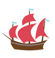 sailing boat flat style vector image vector image