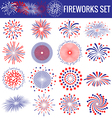 set beautiful fireworks for independence day vector image