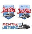 set jet ski rental born logo vector image vector image