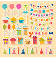 Set of birthday party design elements stickers vector image vector image