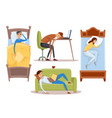 sleeping young woman at home vector image