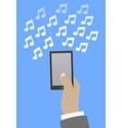 Smartphone in hand music vector image vector image
