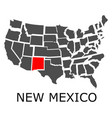 state of new mexico on map of usa vector image vector image