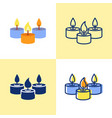 tealight candles icon set in flat and line style vector image vector image