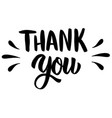 thank you hand drawn lettering isolated on white vector image vector image