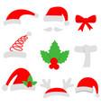 three red santa hats and christmas stocking vector image