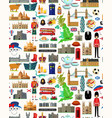 united kingdom travel map seamless travel pattern vector image