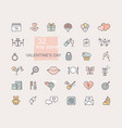 valentine icon set happy valentine day related vector image vector image