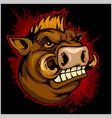 wild boar head mascot vector image vector image