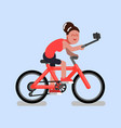 woman on bike vector image