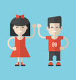 Flat Style Cartoon Characters Girl and Boy vector image
