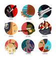 genre cinema set icons cinematography comedy flat vector image