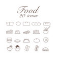 20 icons for food set infographic design vector image vector image