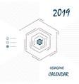 2019 hexagonal calendar templatehexagon shape vector image