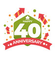 40 anniversary isolated icon birthday celebration vector image