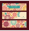 abstract decorative circles horizontal banners set vector image