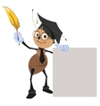 Ant teacher holding pen and blank sheet vector image vector image