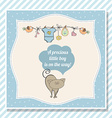baby boy shower card with little cat vector image vector image
