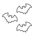 bats thin line icon spooky and animal vampire vector image