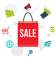 big sale poster with shopping bag vector image vector image