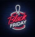 black friday neon advertising discounts sales vector image