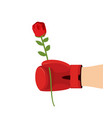 boxer glove and rose give flower on 8t of march vector image
