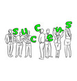 business people holding green letters success vector image vector image
