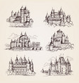 castles medieval old tower buildings vintage vector image vector image