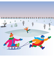 Children with sled Kids playing winter games vector image