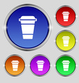 coffee icon sign Round symbol on bright colourful vector image vector image