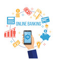 concept for mobile banking and online payment vector image vector image