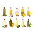 cooking oil bottles natural vegetable olive vector image