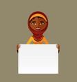 cute arab muslim woman holding board vector image