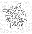 Cute turtle coloring book page vector image