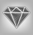diamond sign pencil sketch vector image