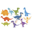dinosaur set collection cartoon dinosaurs vector image