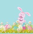 easter poster with rabbit with eggs flowers vector image vector image