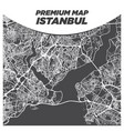 fancy dark black and white map istanbul turkey vector image