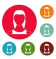 female avatar icons circle set vector image vector image